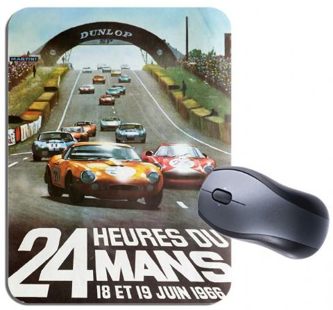 Le Mans 1966 Vintage Poster Mouse Mat. Motor Racing High Quality Mouse Pad Gift
